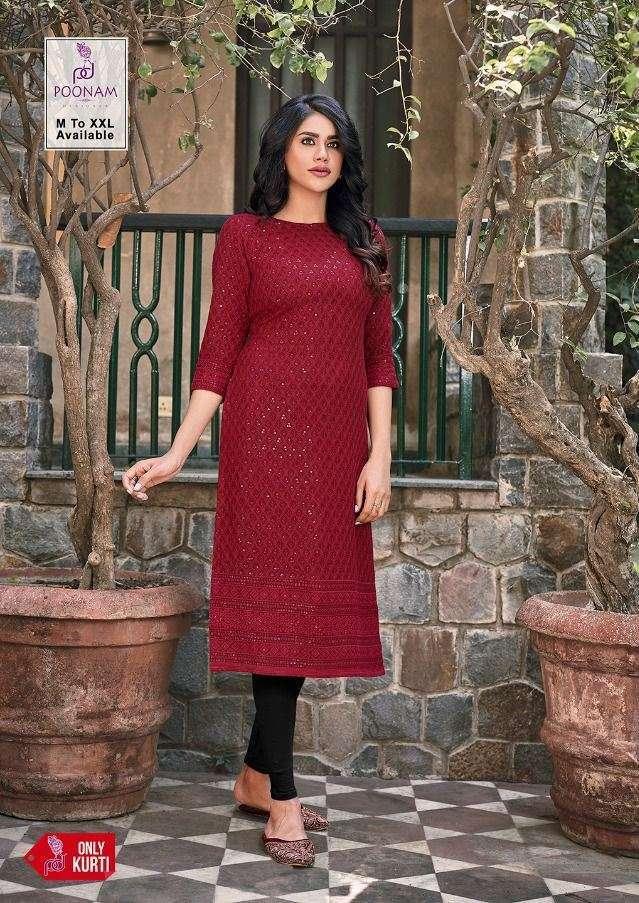 poonam designer rayon lucknowi series 601-605 pure rayon kurti