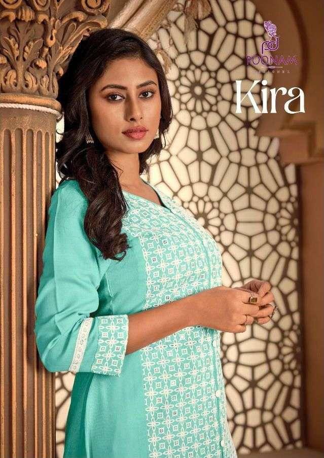 poonam kira series 1001-1006 chikan work with Cotton slub kurti