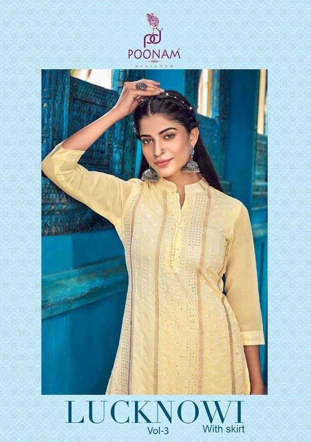 poonam lucknowi vol 3 series 201-206 Pure georgette Lucknowi kurti with bottom