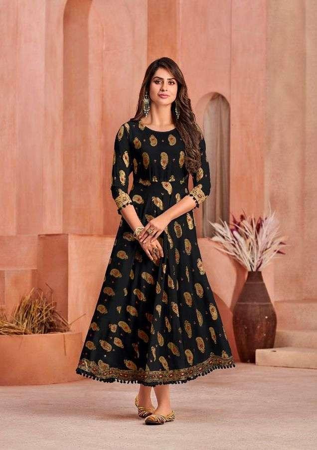 poonam minakari gown series 1001-1008 Pure 14 Kg Rayon print Gown