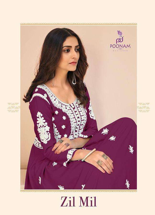 poonam zil mil series 3001-3008 pure rayon long gown