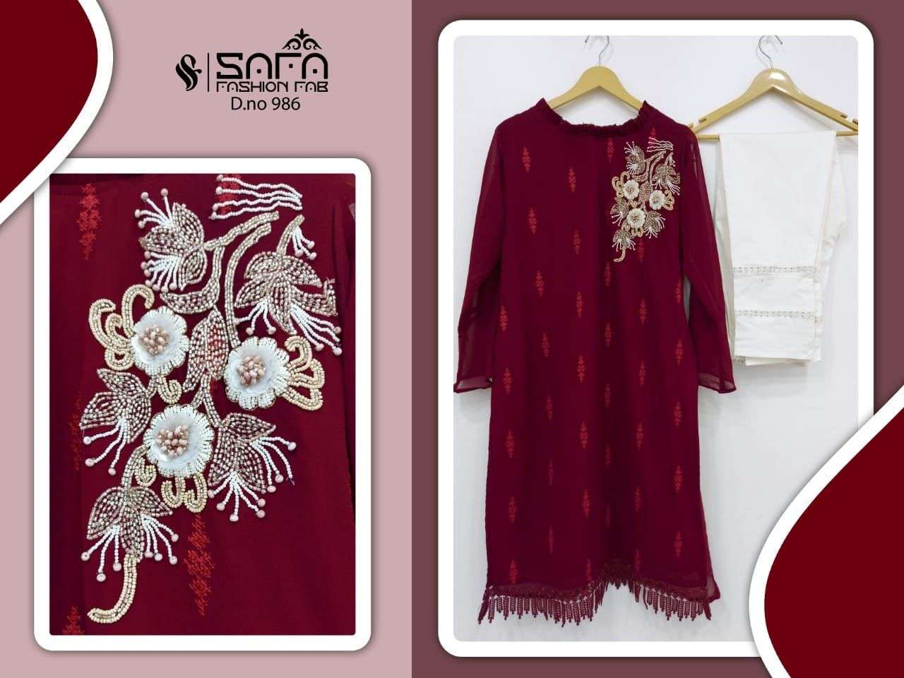 safa fashion sf 986 Pure Georgette Embroidered Tunic with Sleeves