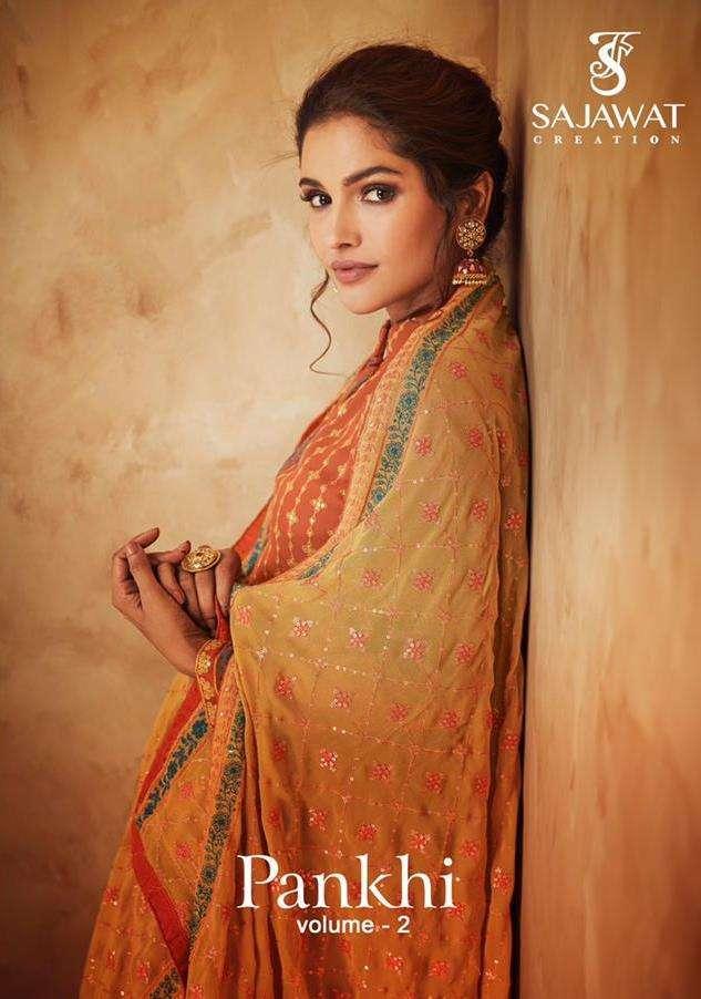 sajawat creation pankhi vol 2 series 111-1114 heavy faux blooming georgette suit