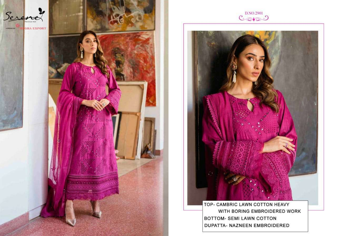 serene belle ame 2 series 2901-2906 cambric lawn cotton suit