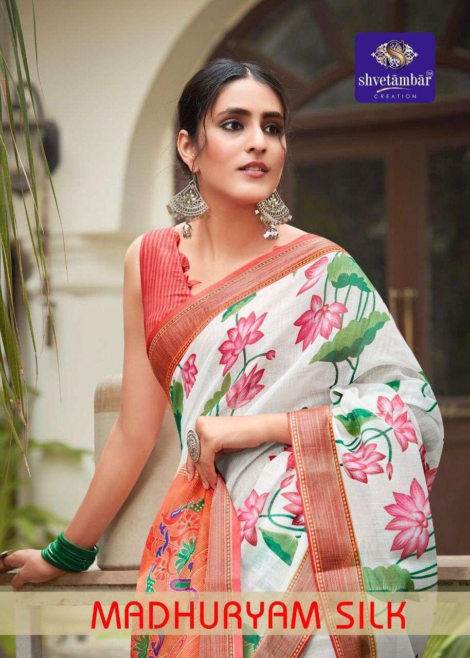 shvetambar madhuryam silk series 01-12 pure linen saree