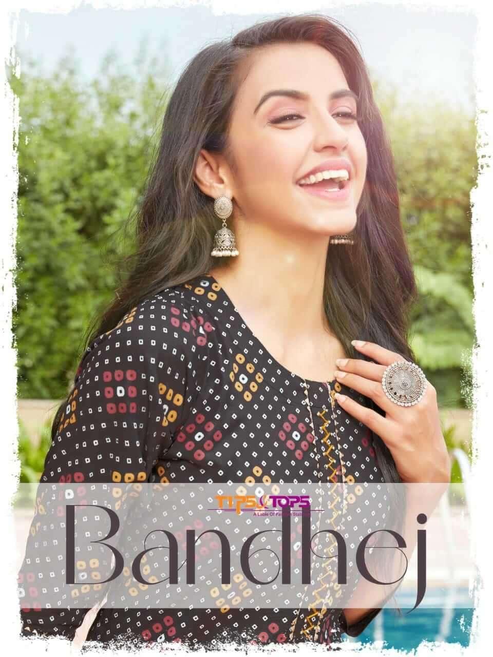 tips & tops bandhej series 1001-1006 Fancy Reyon Bandhani Print kurti with pant