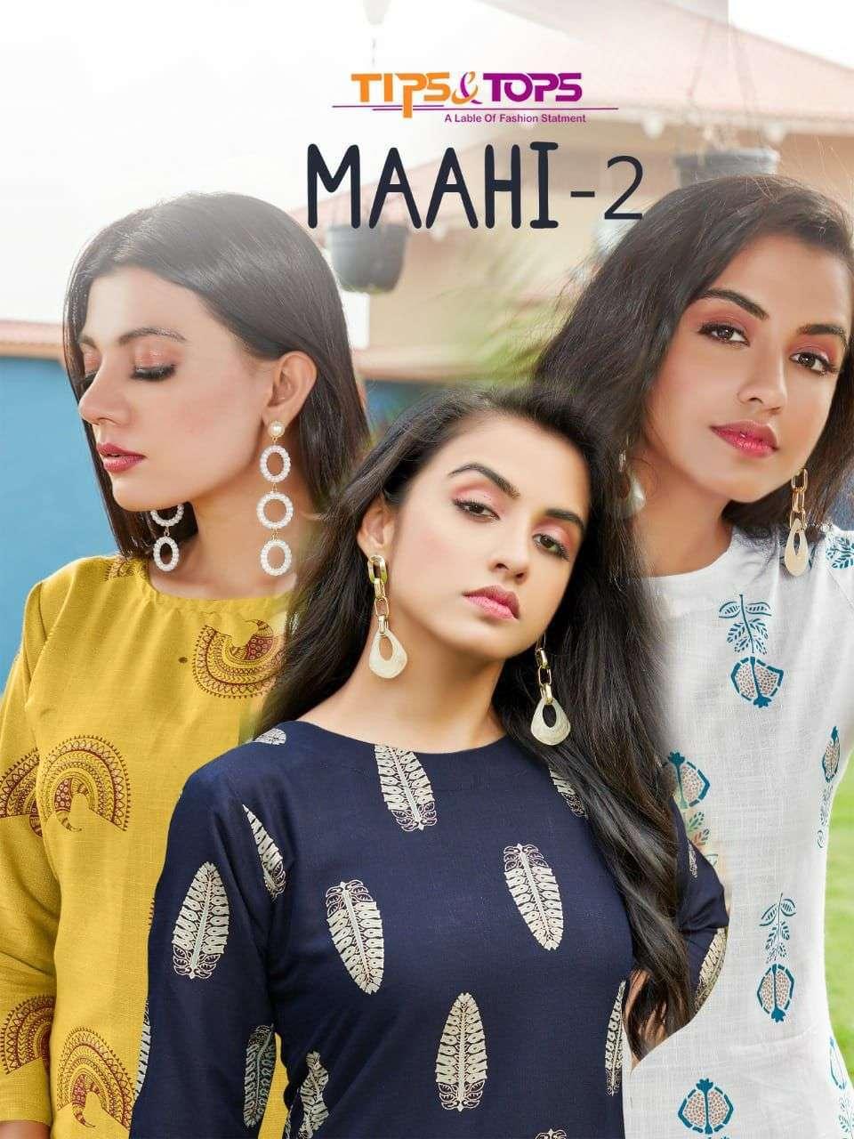 tips & tops maahi vol 2 series 01-05 Heavy Reyon Slub Foil Print kurti