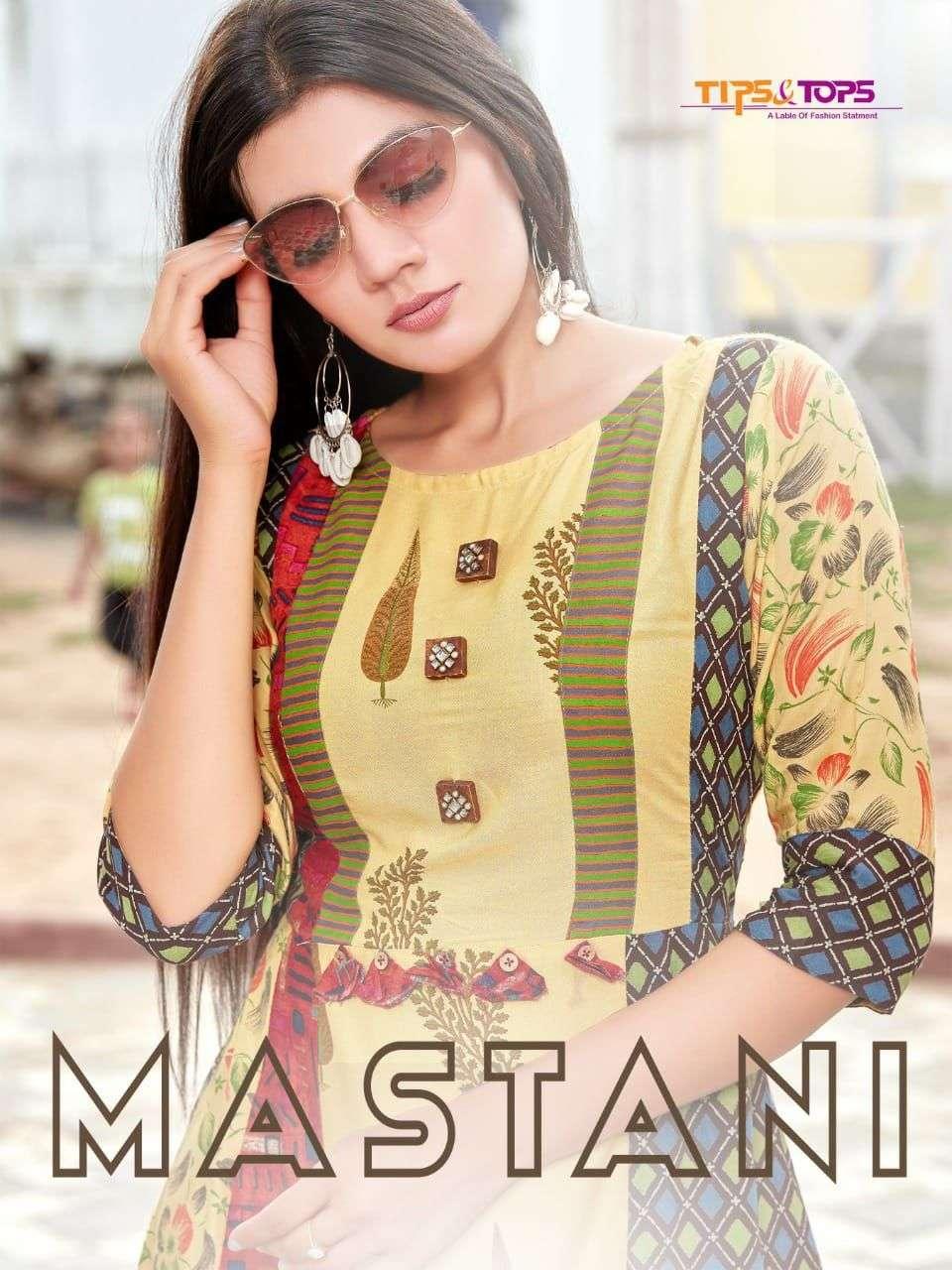tips & tops mastani Heavy Rayon Print 16kg Ajarak and foil Print kurti