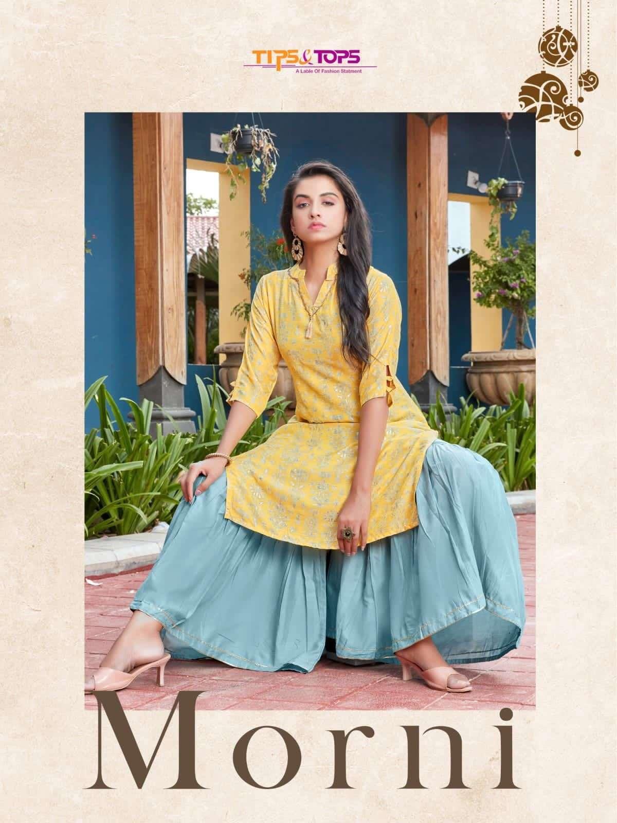 tips & tops morni Chanderi and Musline Foil Print kurti