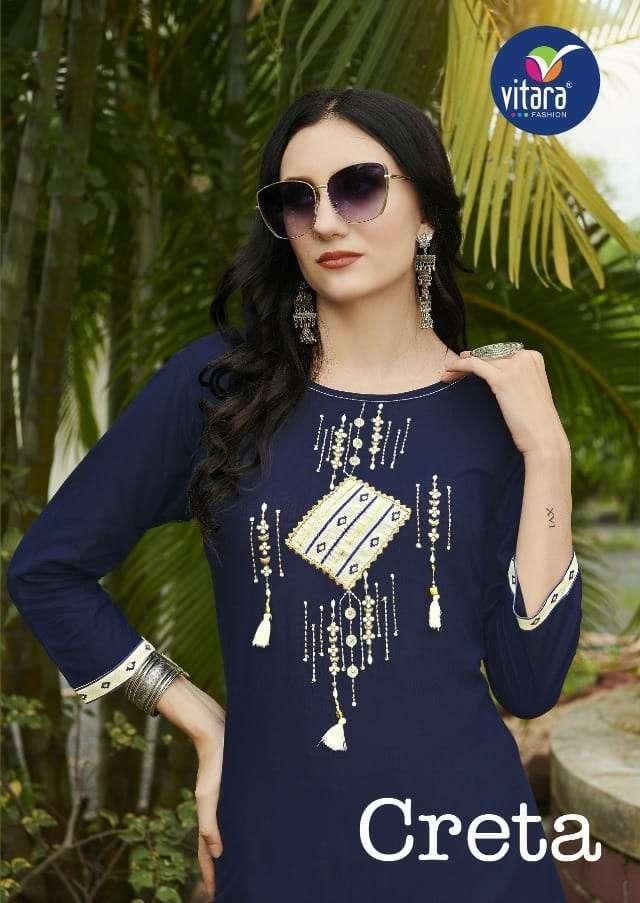 vitara creta series 1001-1004 heavy rayon fabric with embroidery kurti