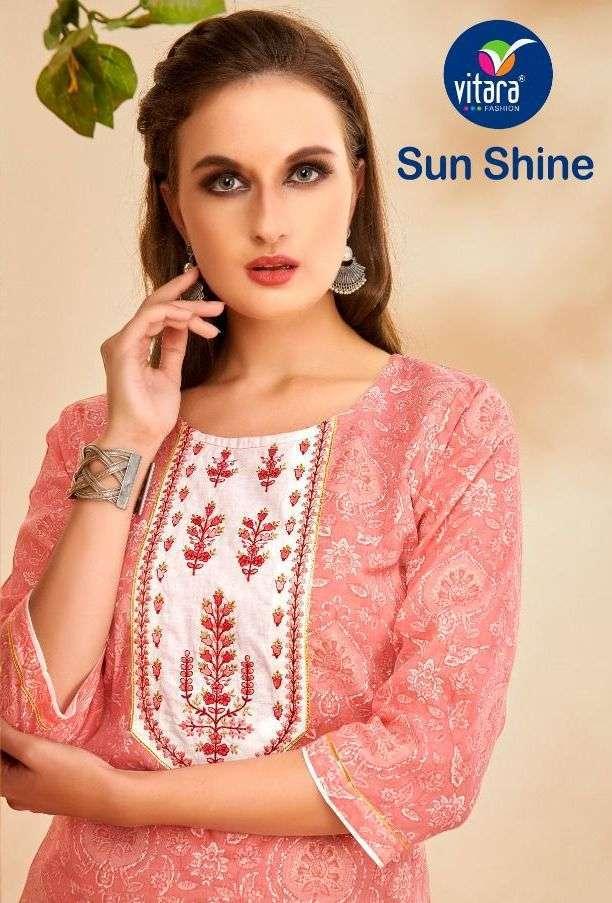 vitara sun shine series 1001-1005 pure mul mul foil print kurti