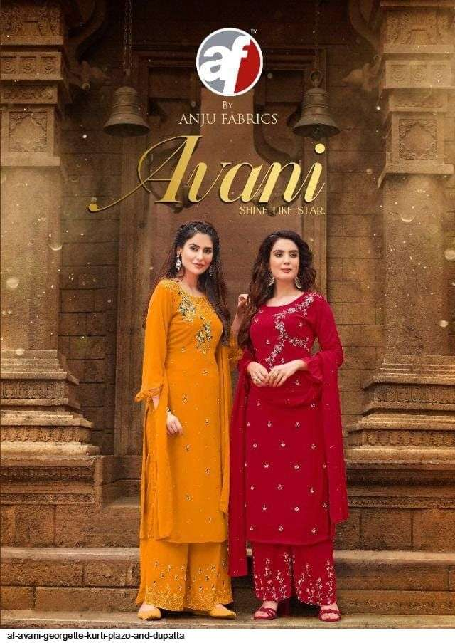 anju fab avani series 6041-6045 heavy faux georgette suits