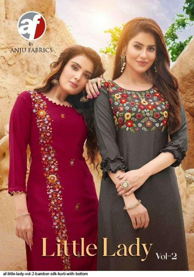 anju fab little lady vol 2 series 2051-2056 bember silk kurti