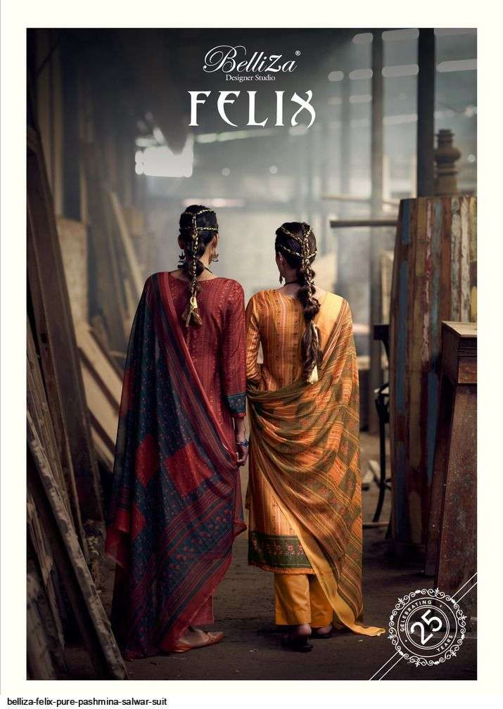 belliza felix series 715001-715008 Pure Pashmina digital print suit