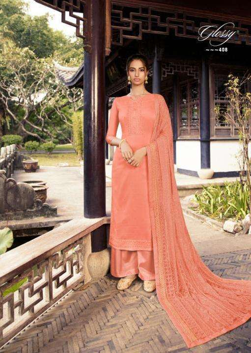 glossy rooh series 405-409 cotton silk embroidery suit