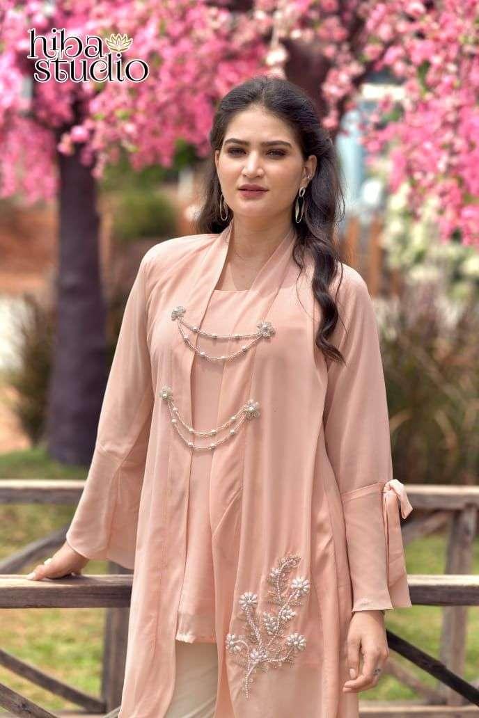 hiba studio lpc vol 41 georgette pakistani kurti with stretchable bottom