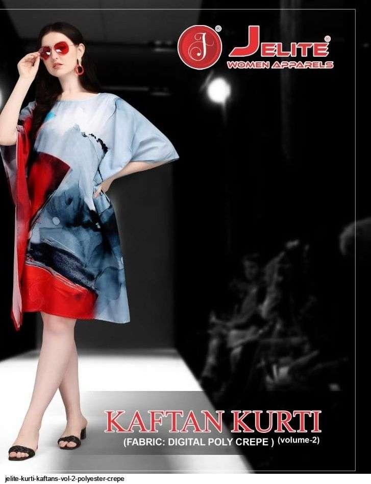jelite Kurti Kaftans Vol- 2 series 111-118 Polyester Crepe digital print kaftans