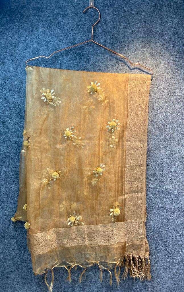 Kanz scarf present tissue dupatta gold print with hand work