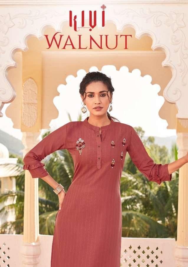 kivi walnut series 12841-12846  Fancy Fabrics With Fancy Khatli Work kurti