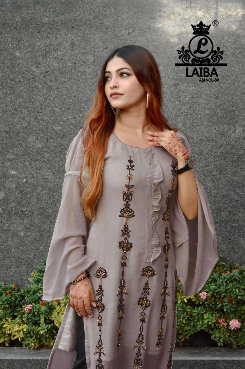 laiba am vol 80 Pure Georgette Tunic with classy handwork