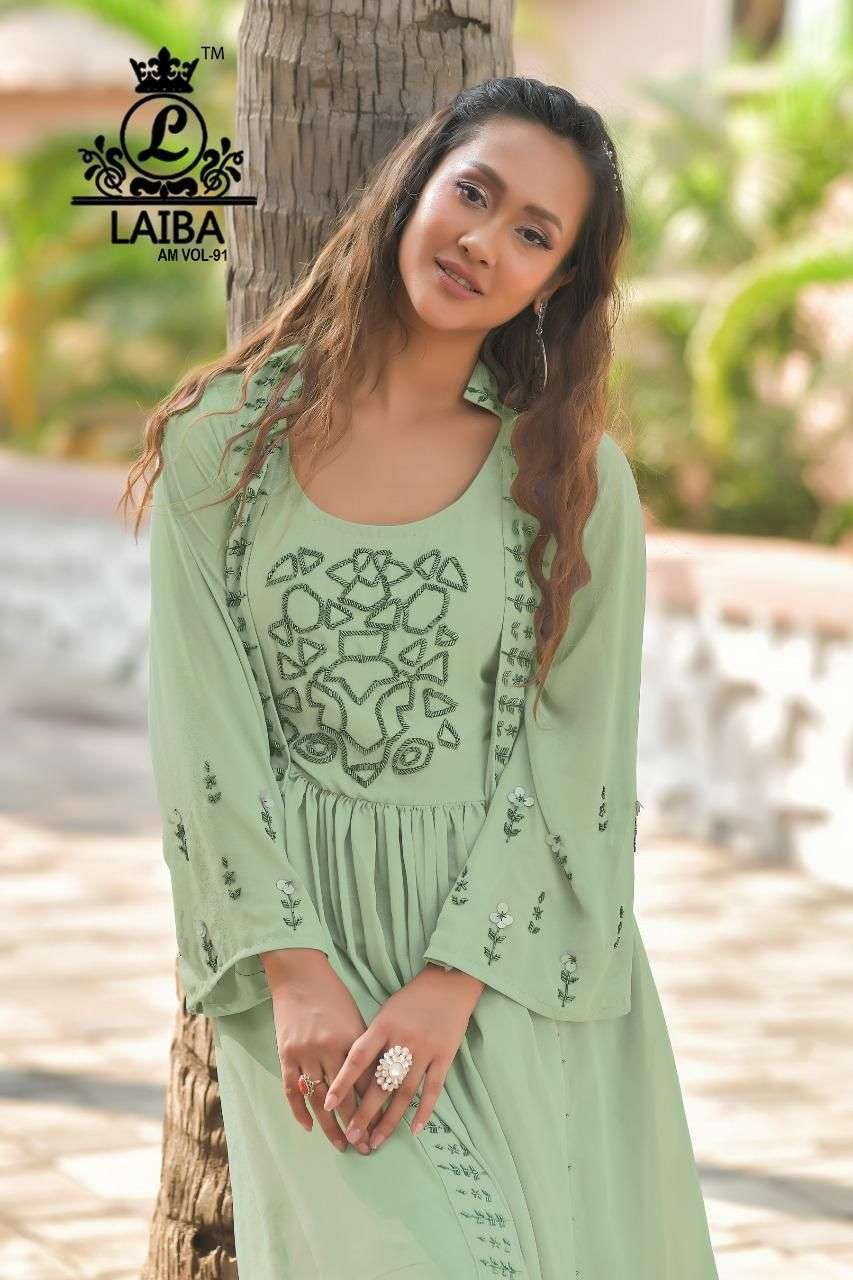 laiba am vol 91 Pure Georgette Tunic with classy Handwork
