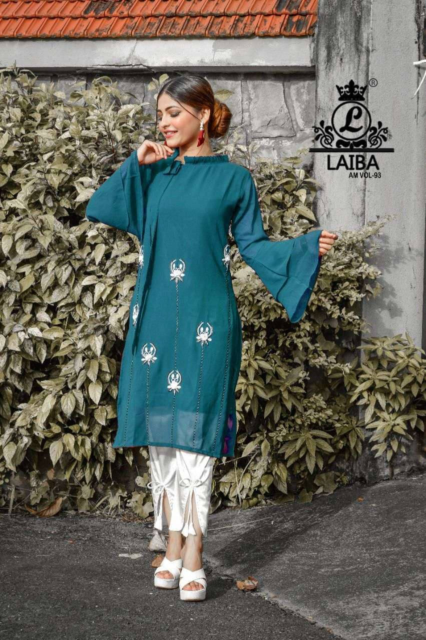 laiba am vol 93 georgette pakistani tunic with fancy bottom