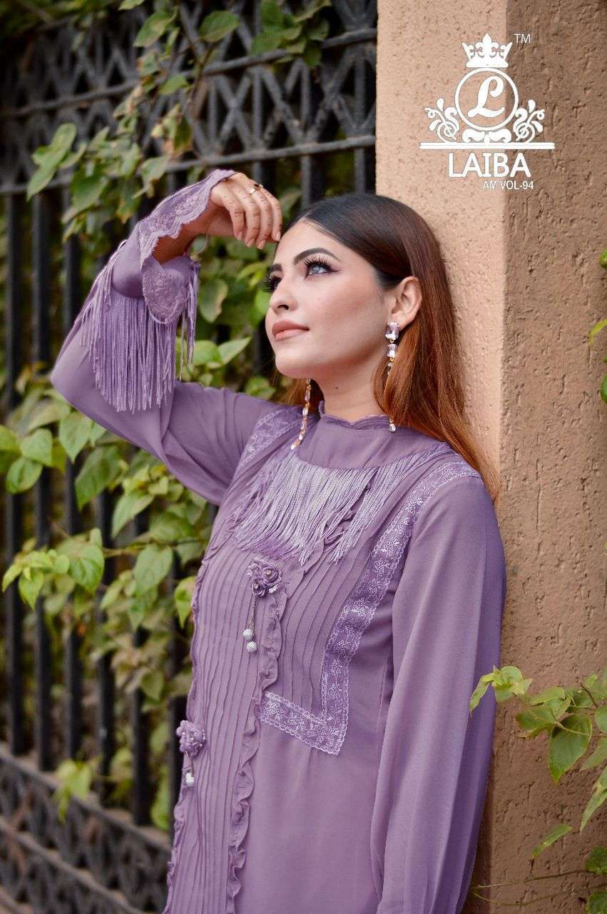 laiba am vol 94 Pure Georgette tunic with beautiful classy 3D Flower Work