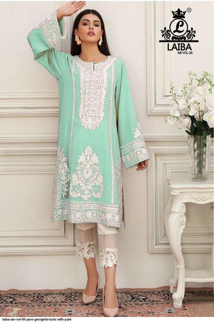 laiba am vol 96 georgette pakistani tunics with bottom