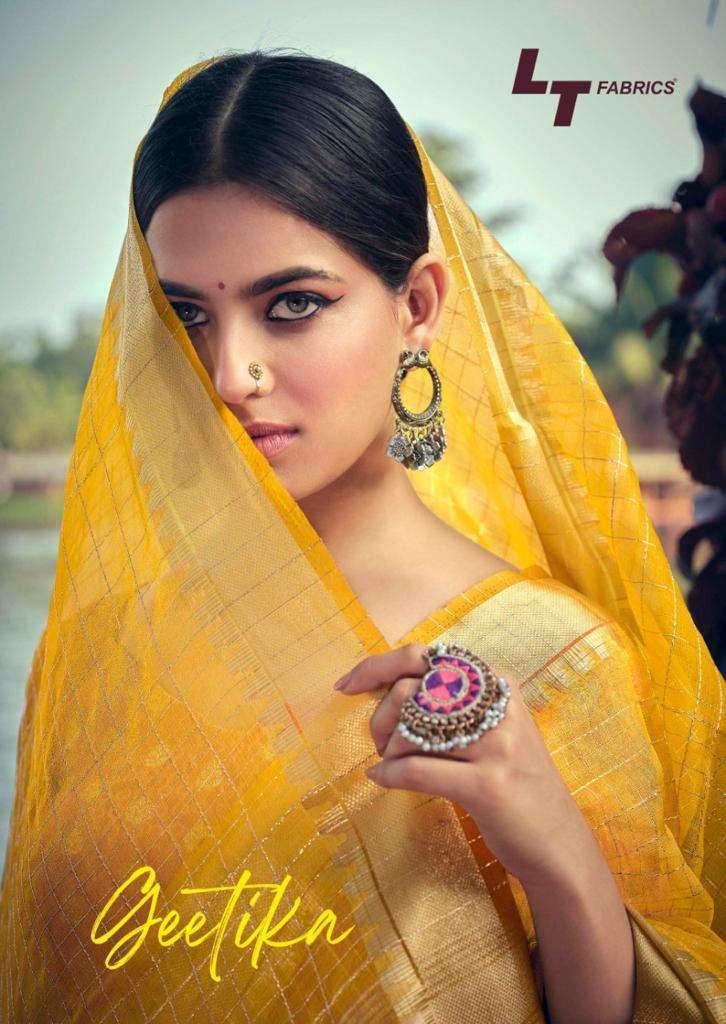 lt fashion geetika series 2101-2105 kora silk weaving saree