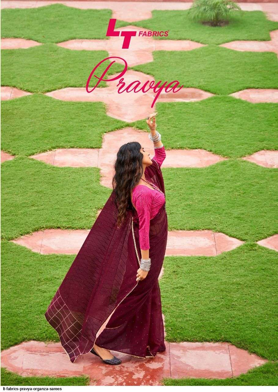 lt fashions pravya series 7601-7610 organza with weavivng zari saree