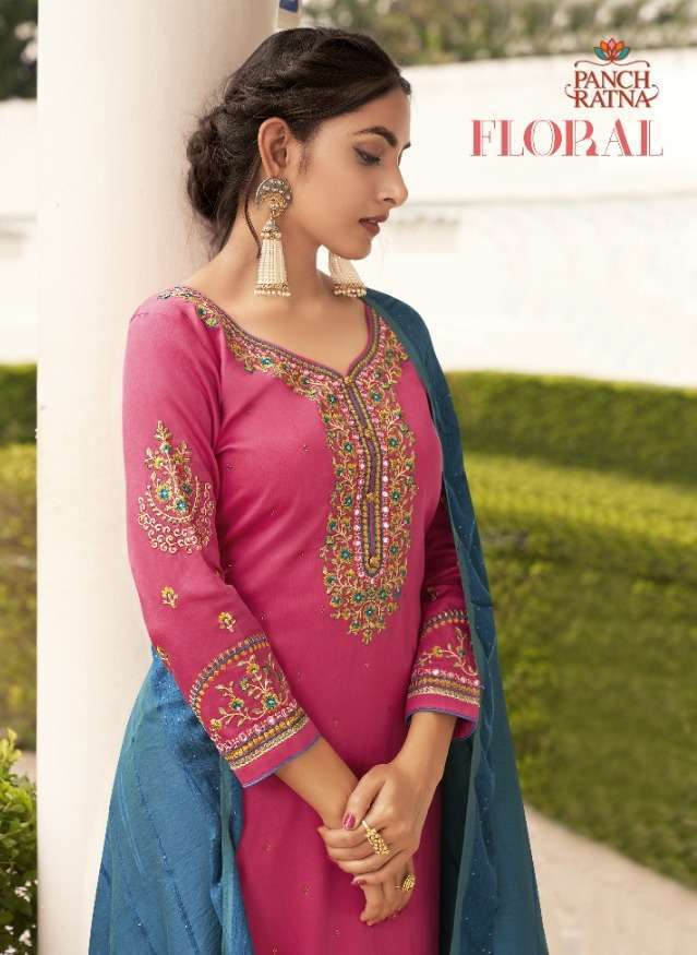 panch ratna floral series 11501-11505 jam silk suit