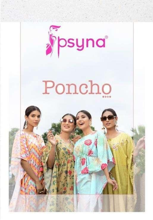 psyna poncho Muslin Digital print Kaftans pants set with Handwork