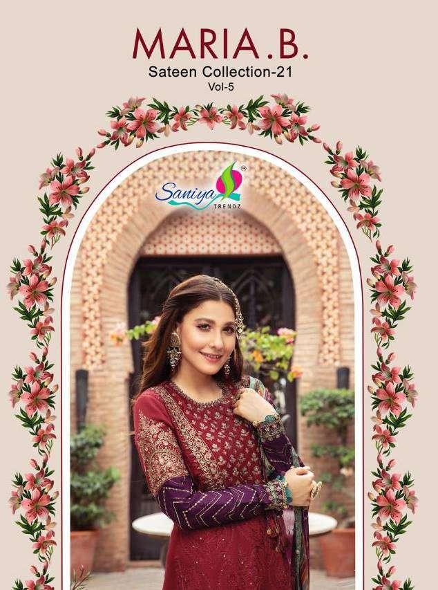 Saniya Trendz Maira B Sateen Collection Vol 5 series 1013-1016 Faux Georgette suit
