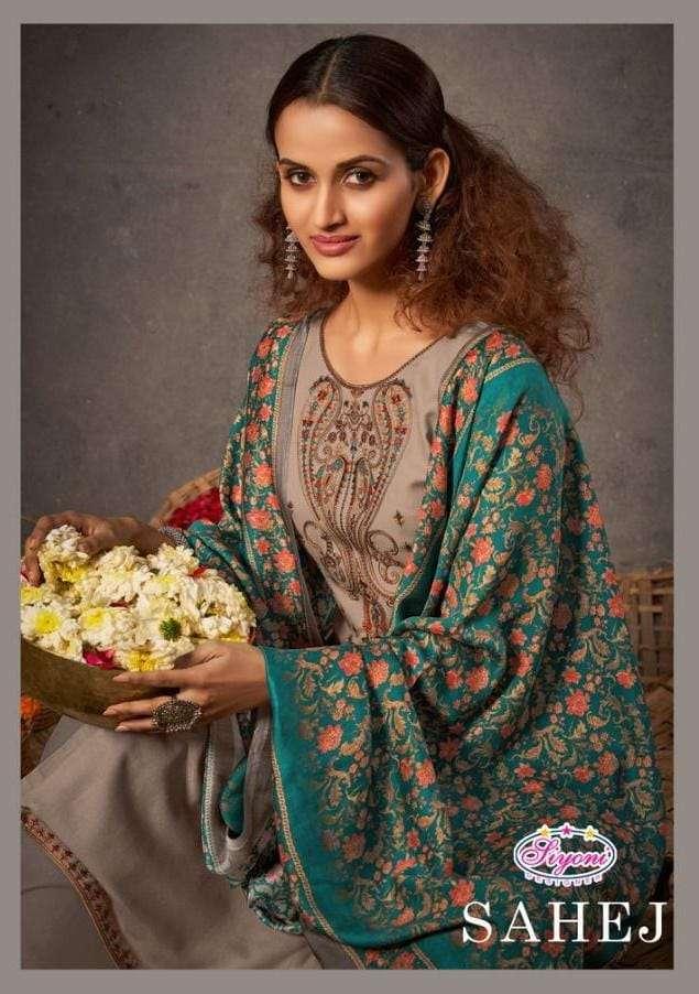 siyoni sahej series 15001-15006 pure staple pashmina suit