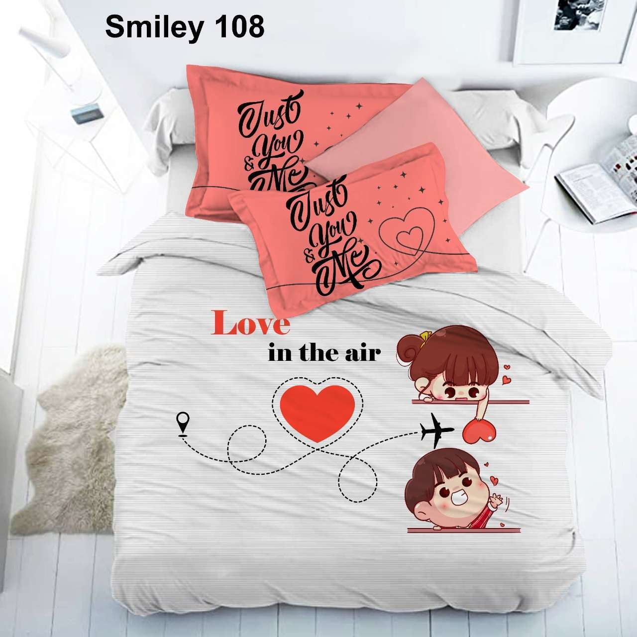 smiley soft pure cotton king size bedsheets with 2 pillow cover at best wholesale price