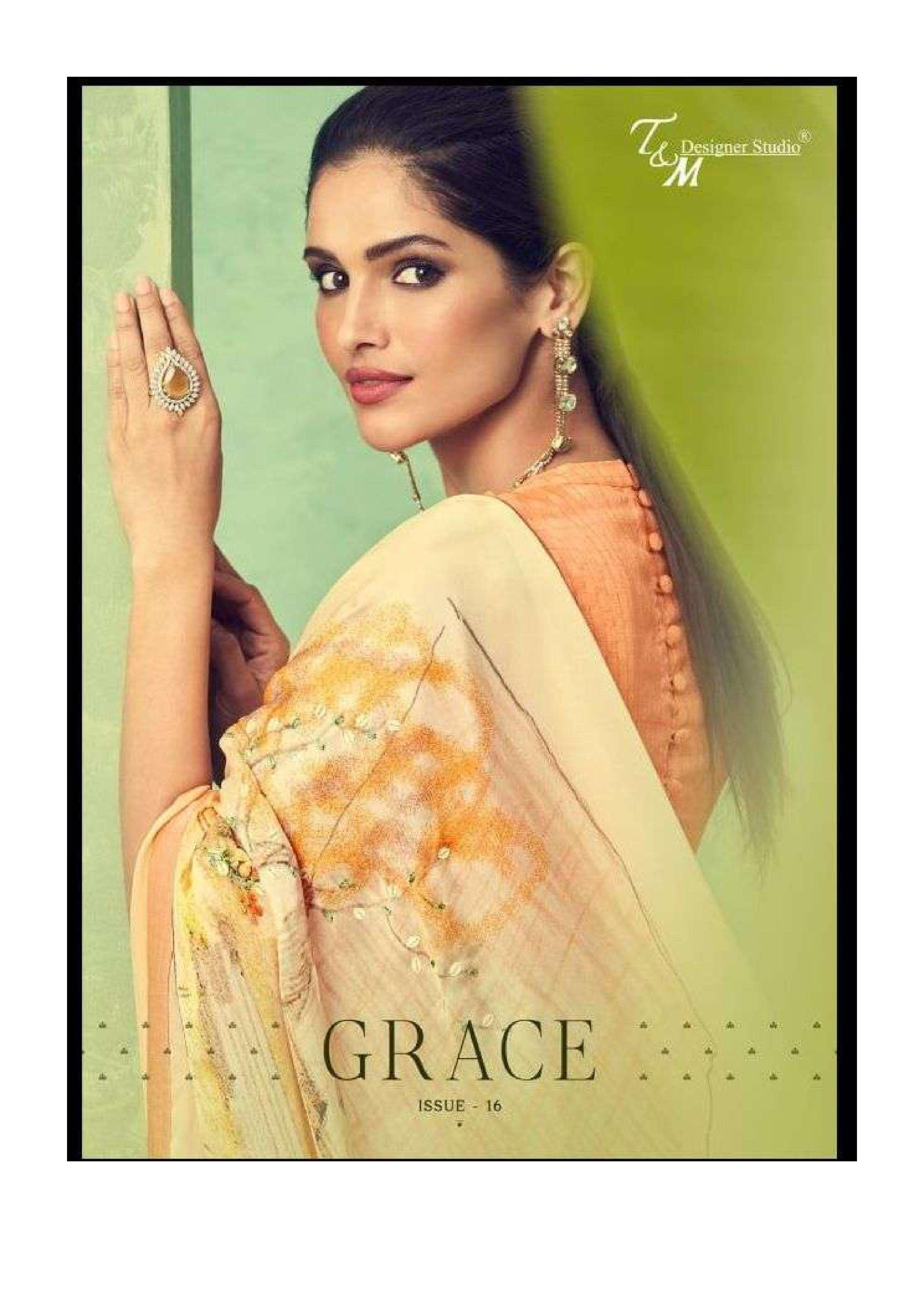 t and m designer grace vol 16 all fancy fabric saree collection