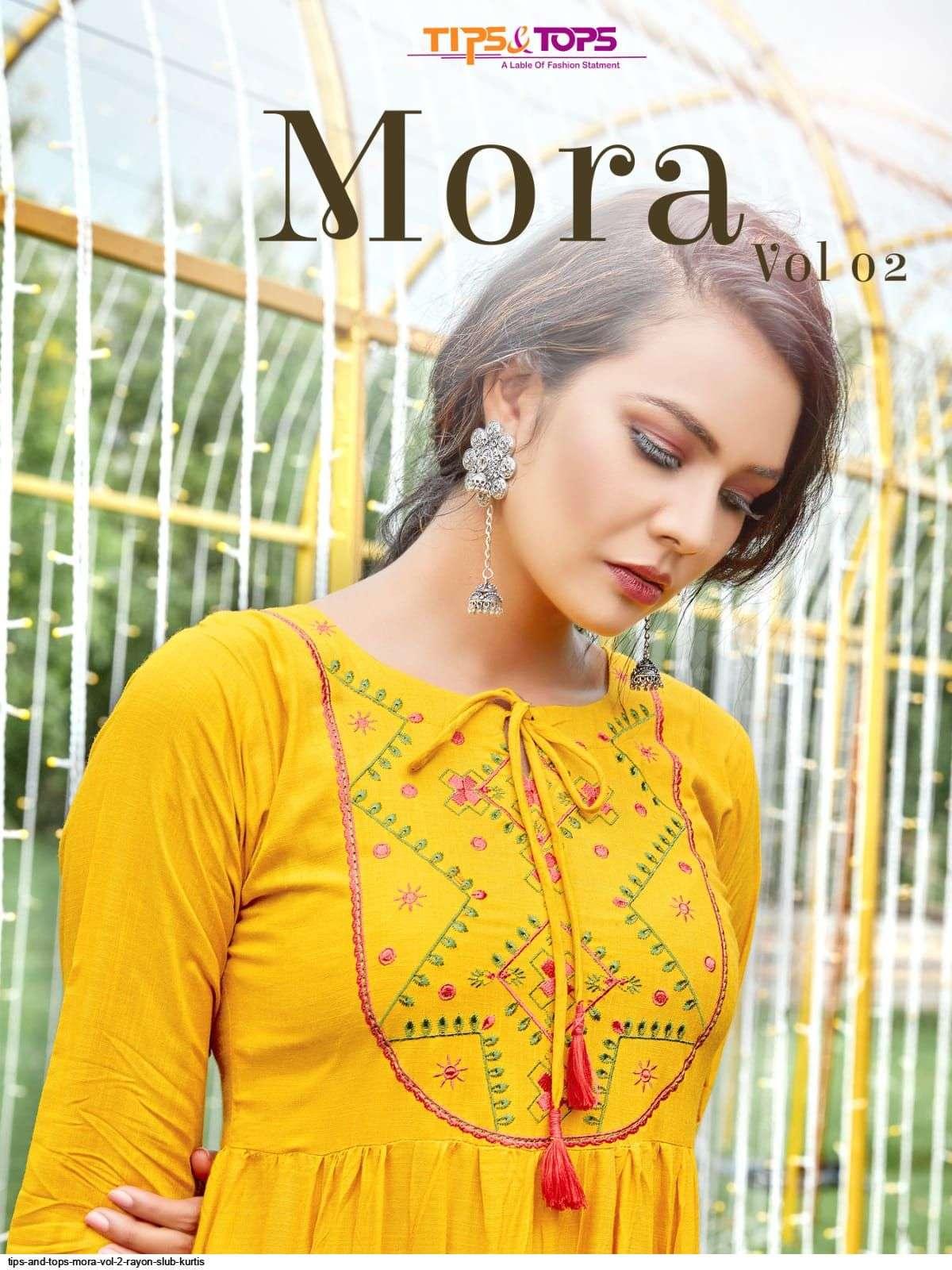 tips and tops mora vol 2 series 01-06 Heavy Reyon Slub kurtis