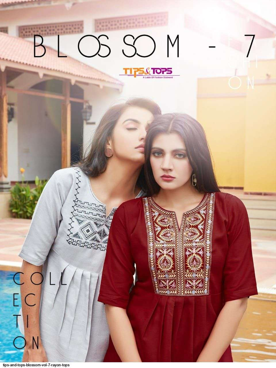 tips & tops blossom vol 7 Heavy Rayon Linen short top style kurti