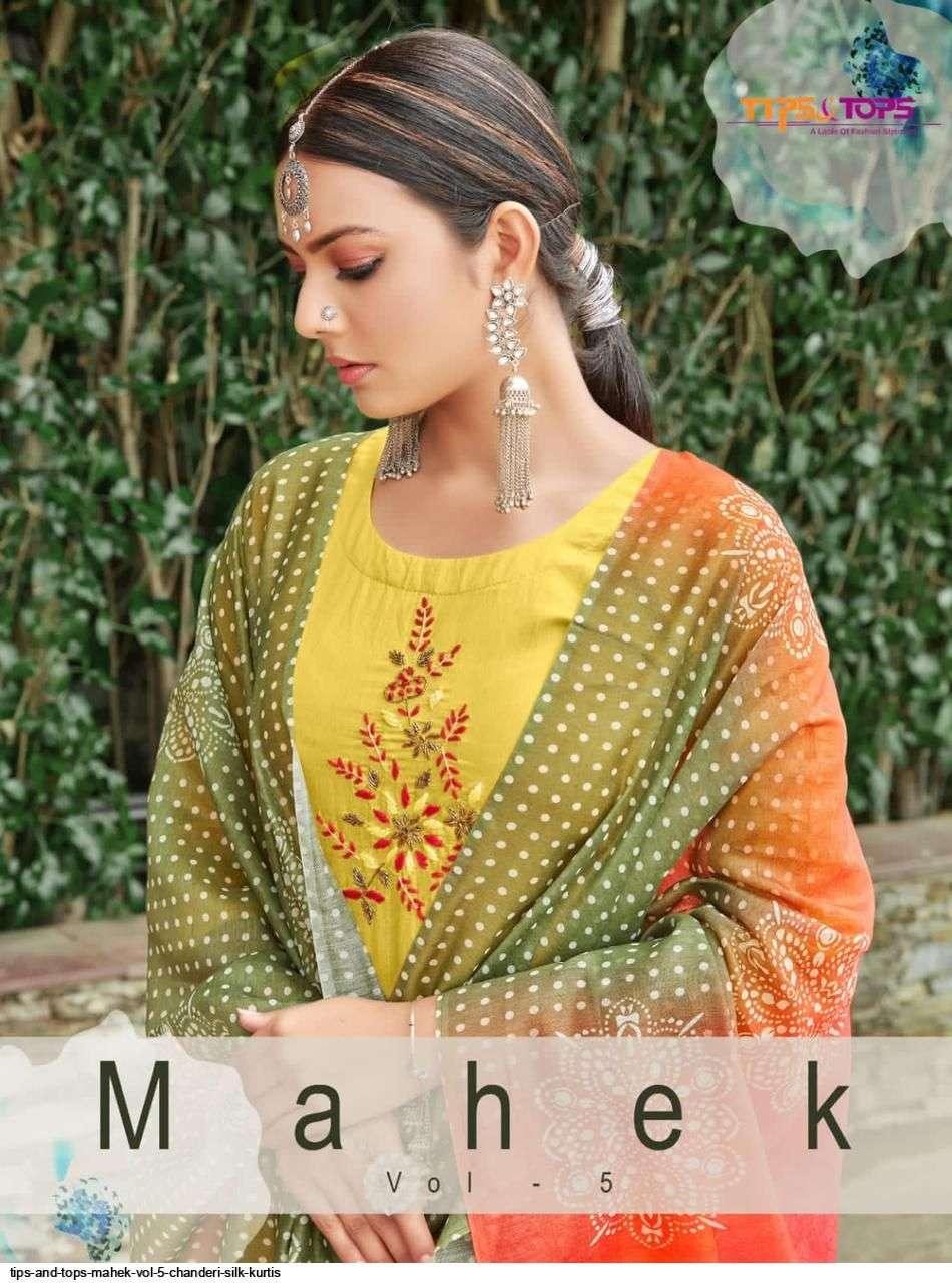 tips & tops mahek vol 5 series 01-06 Heavy Chanderi Silk with Cotton Astar suit