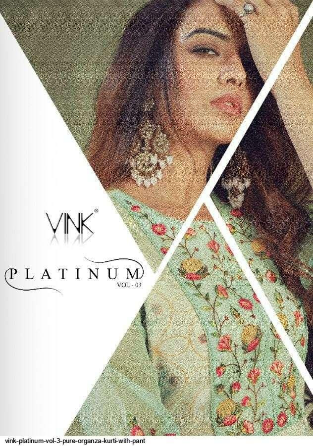 vink platinum vol 3 series 1361-1366 pure organza kurti