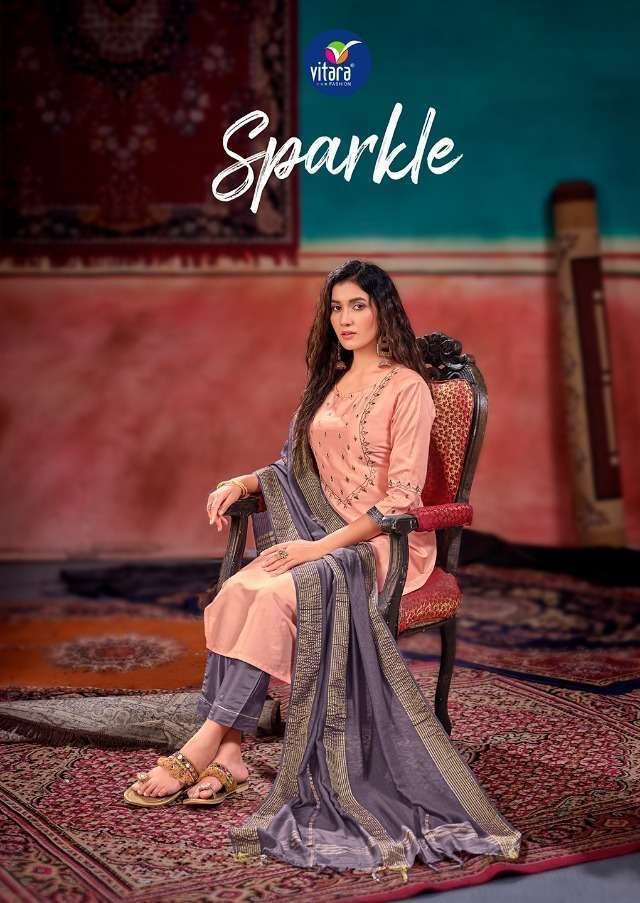 vitara sparkle series 1001-1004 heavy velvet crape with lining suit
