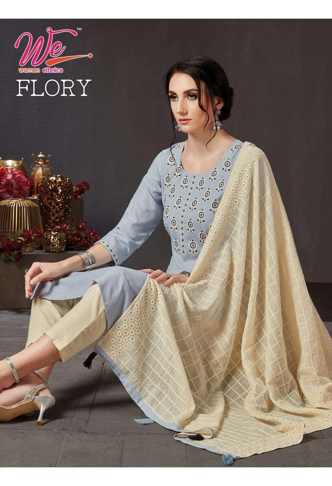 we flory series 9701-9703 bombay soft cotton kurti with dupatta