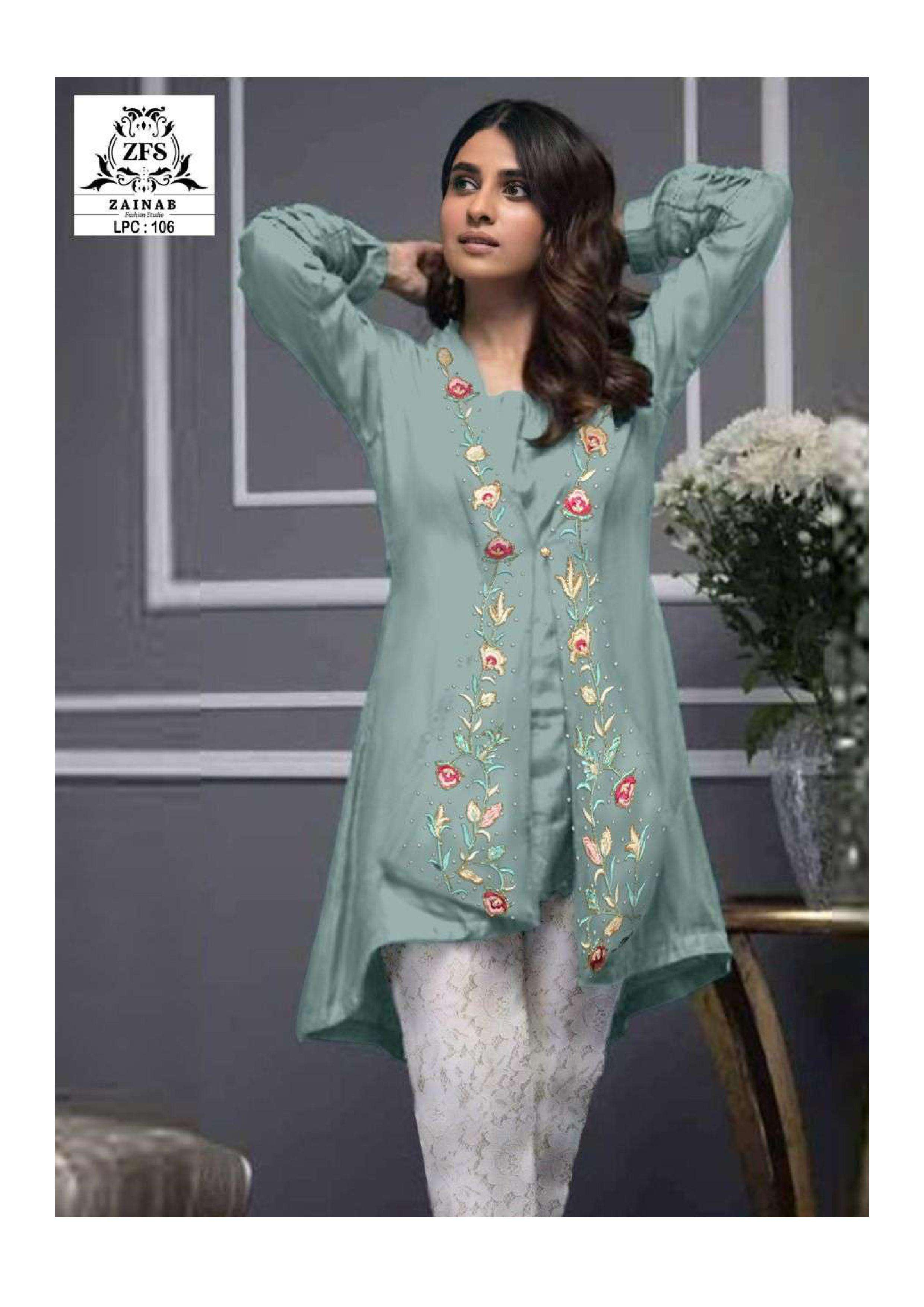 zainab fashion studio lpc 106 georgette pakistani kurti with bottom pair
