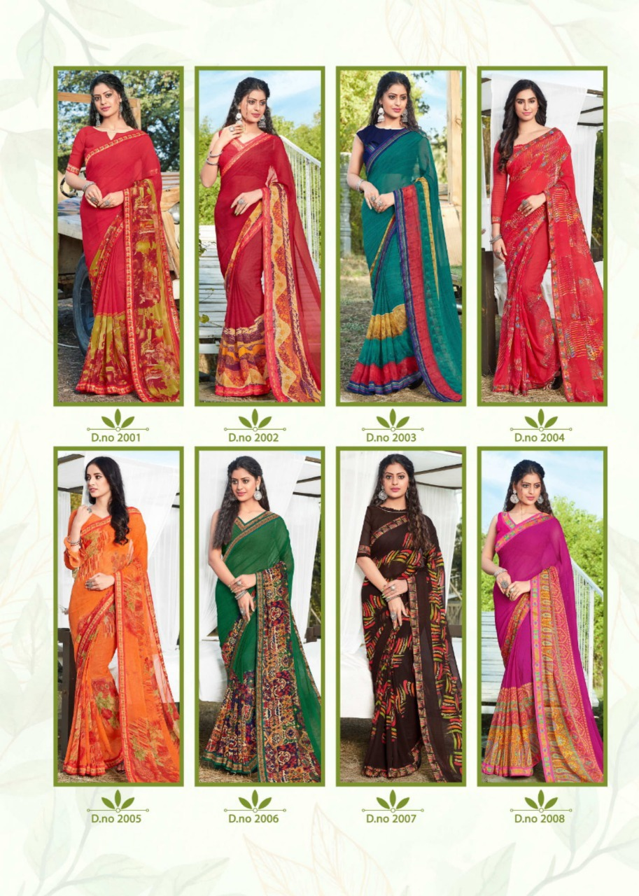 Mansarover Fashion Radha Rani Vol-2 2001-2008 Georgette Print Saree