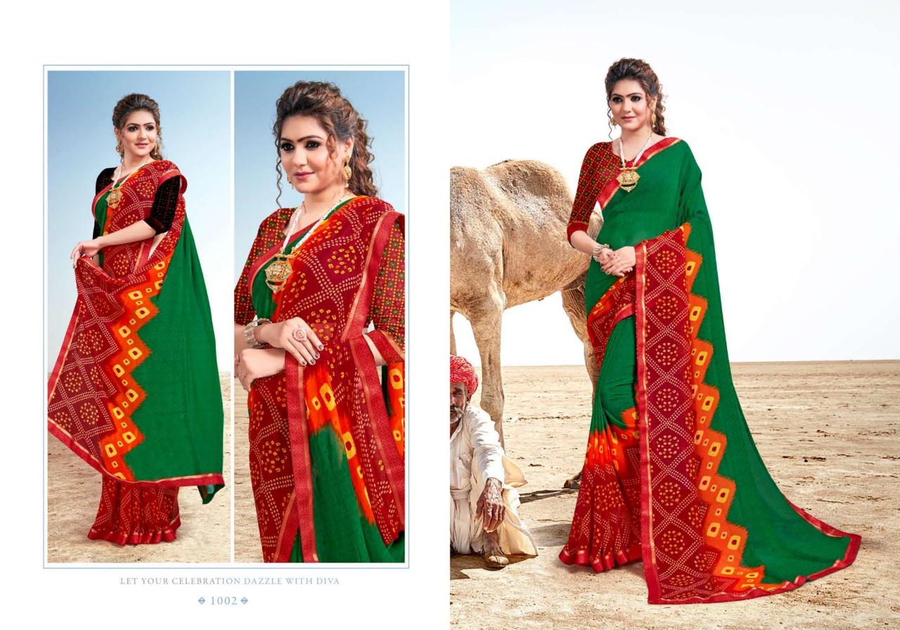 Mansarover Fashion Tanishka 1001-1008 Georgette Bandhani Print Saree