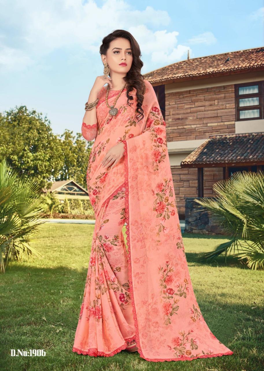 Mansarover Fashion Expression Vol-19 Pure Chiffon Digital Print With Exclusive Dyebale Crosia Border With Diamond Saree