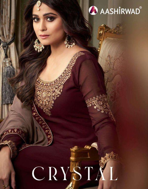 Aashirwad Crystal Series 8429-8433 Georgette Sharara Suits