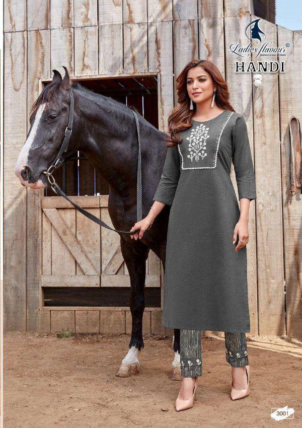 Ladies Flavour Handi Series 3001-3008 Cotton Embroidery Kurti With Bottom
