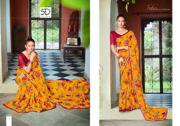 5d Present Kia Vol 4 Printed Chiffon Regular Wear Fancy Saree