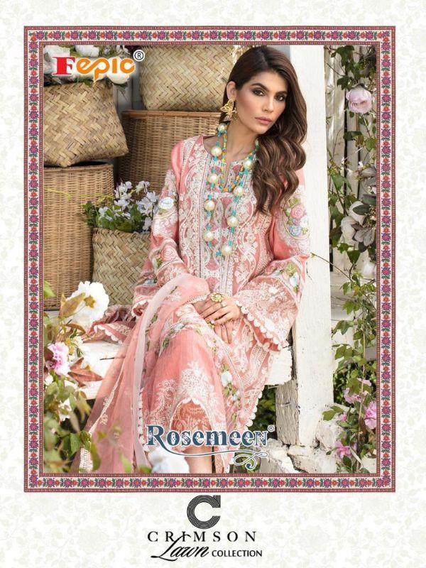 Fepic Rosemeen Crimson Lawn Collection Designer Pure Cotton Suit
